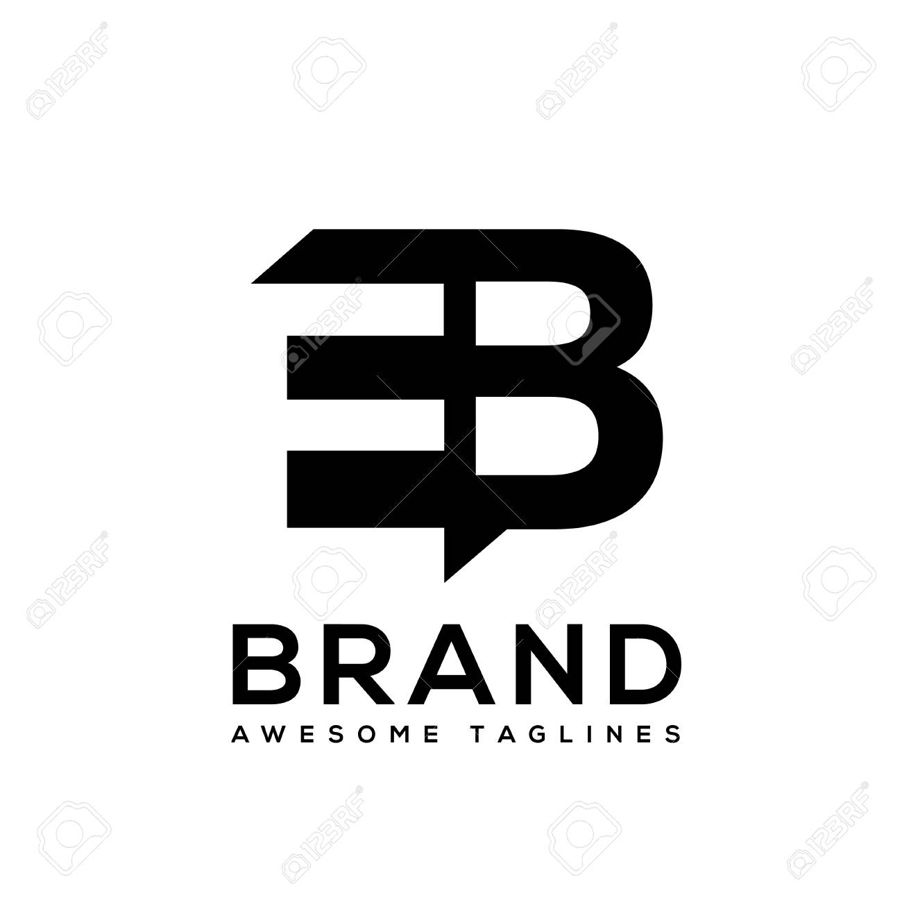 Creative Letter Eb Logo Design Black And White Logo Elements