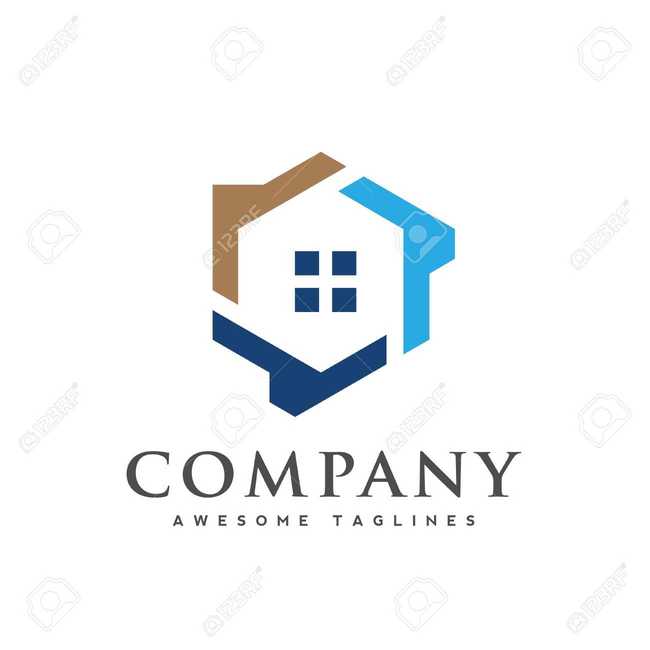 Hexagon house logo vector, creative Real Estate logo, Property