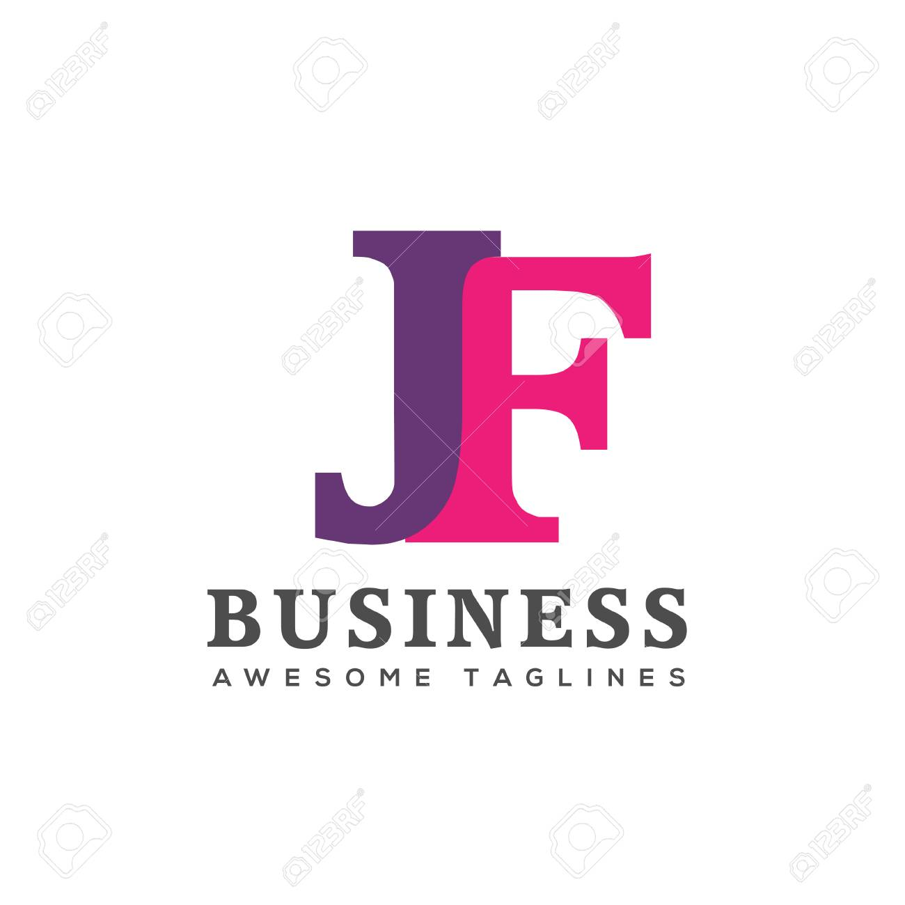 creative letter jf logo design elements business corporate letter