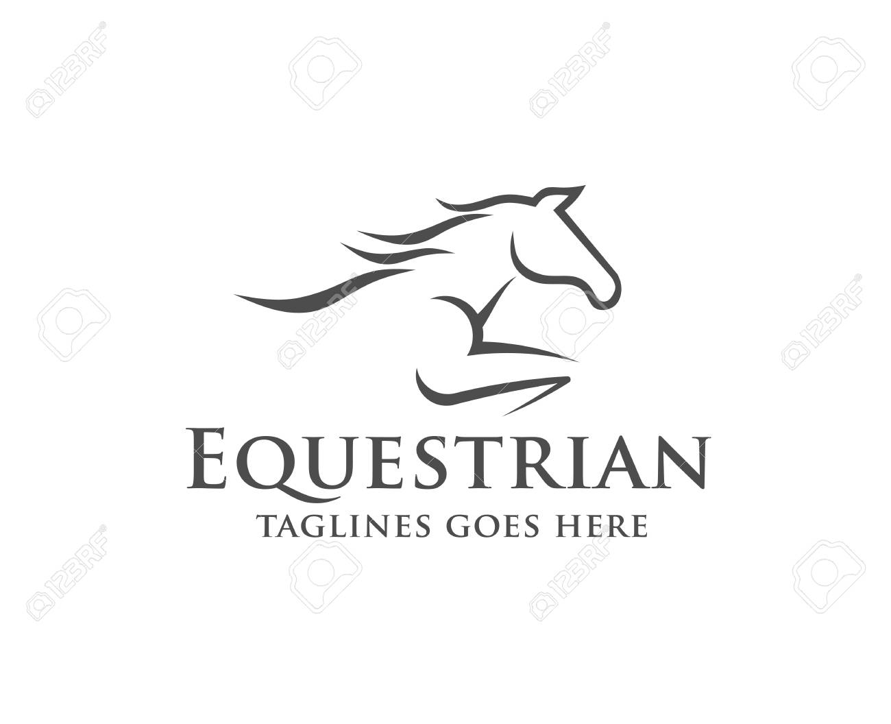 Horse racing logo template  Vector racer or rearing mustang and