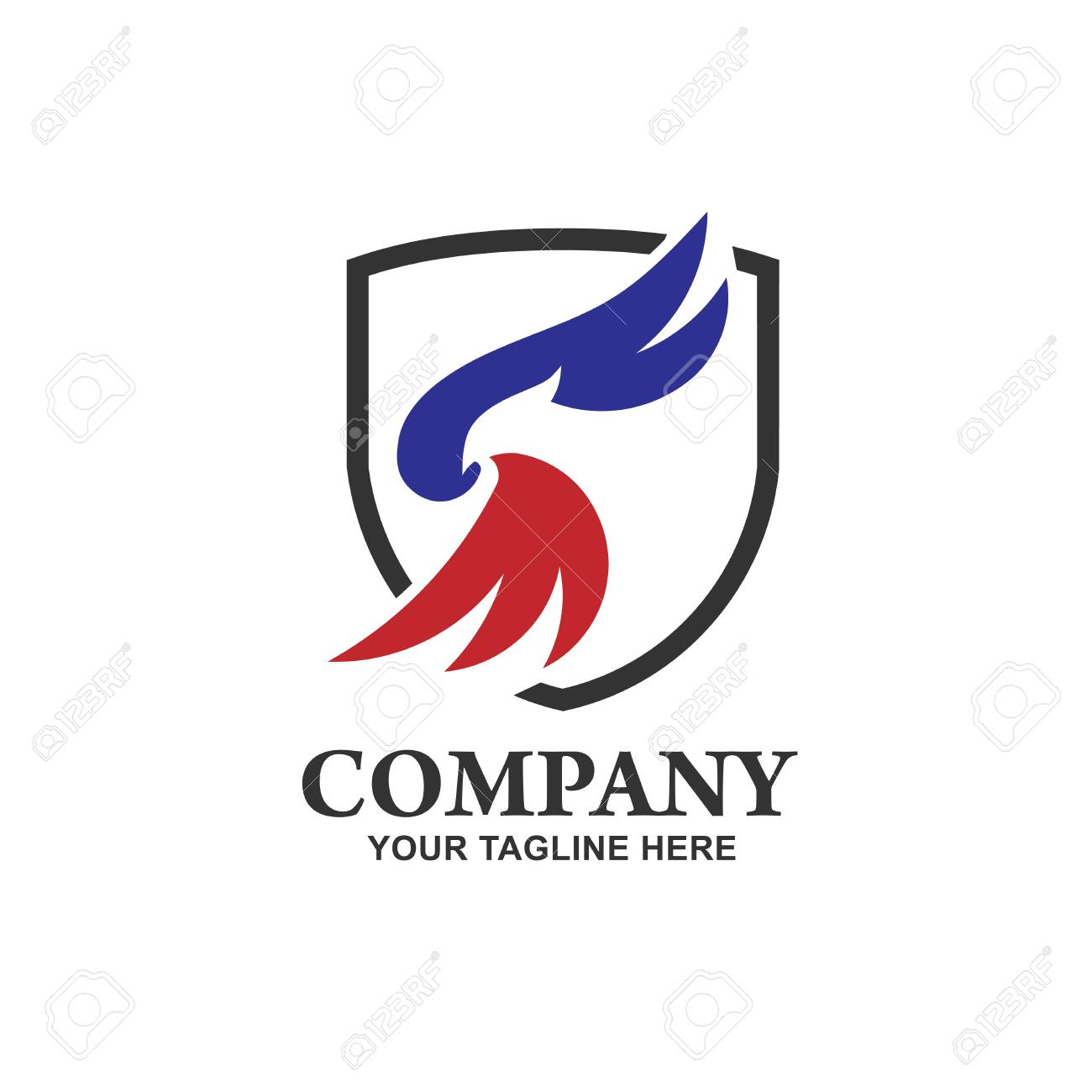 Eagle head with shield logo Template, Hawk mascot graphic, creative