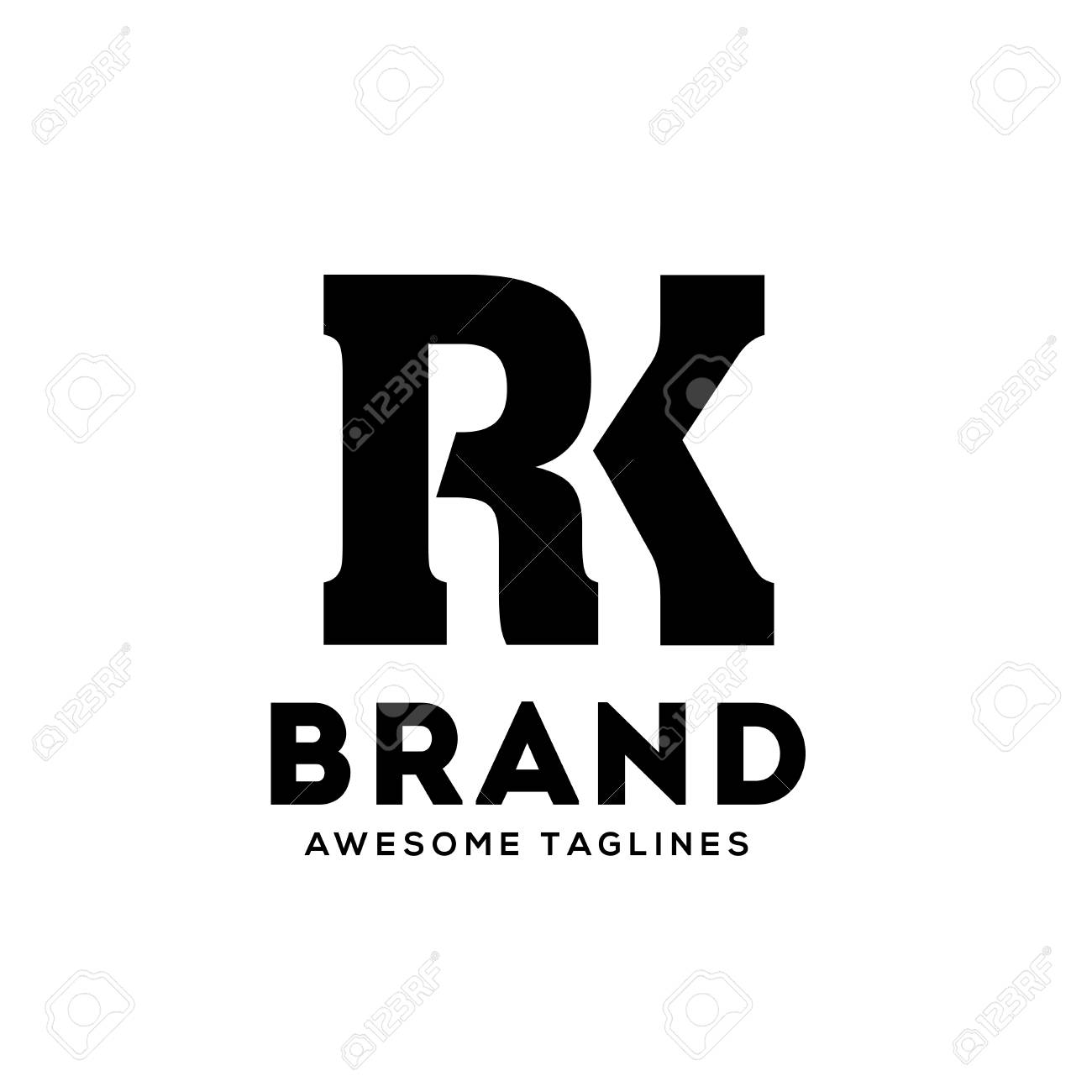 creative RK letter monogram strong and bold logo vector concept - 121560009
