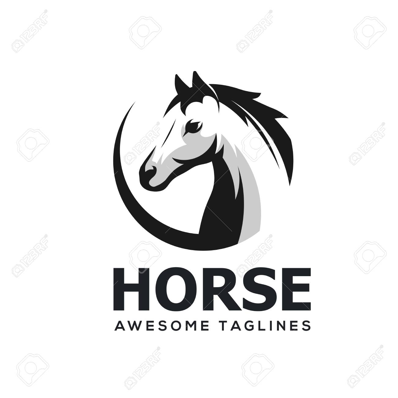 Horse Head Abstract Circle Simple Logo Template Royalty Free Cliparts Vectors And Stock Illustration Image 123252600