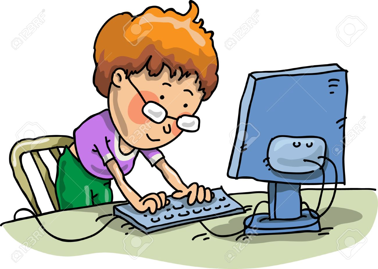 The Boy With The Computer Stock Vector - 4885483