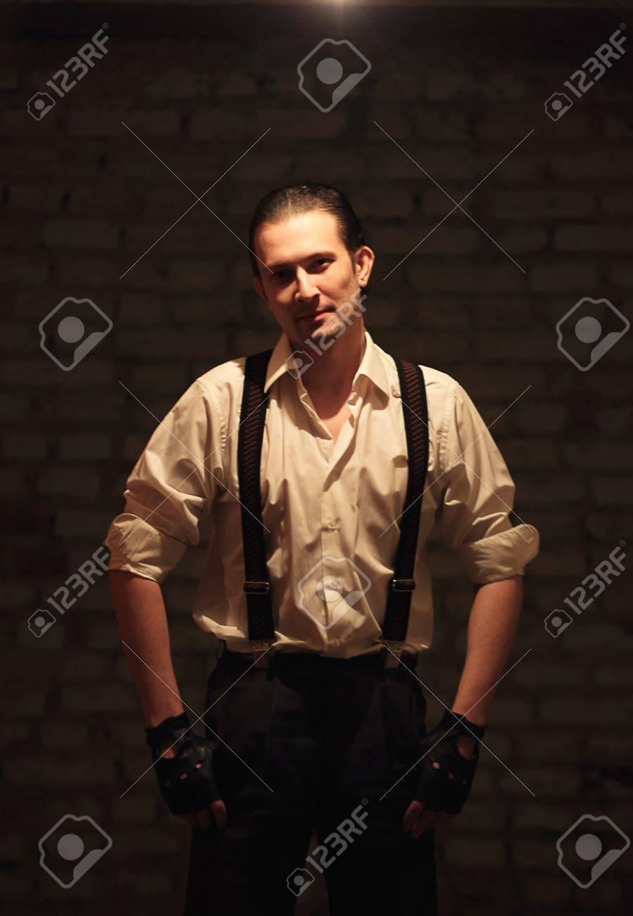 Portrait of young serious mafia man Stock Photo - 17928340