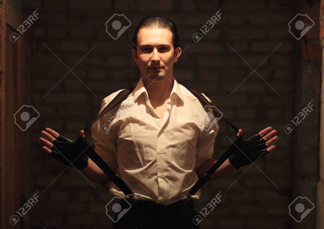 Portrait of young serious mafia man Stock Photo - 17928343