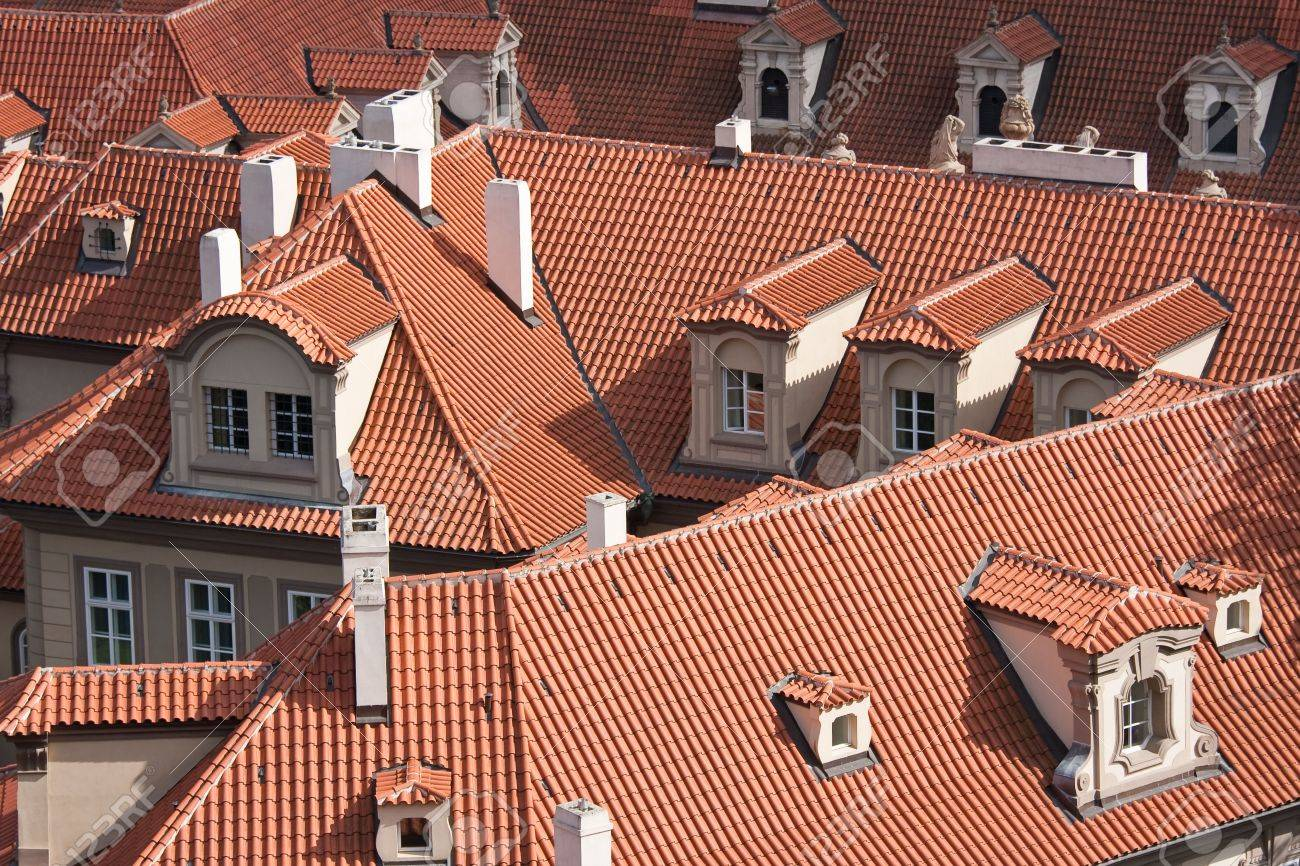 Facing at the red roofs of Prague, Czech Republic Stock Photo - 5428997