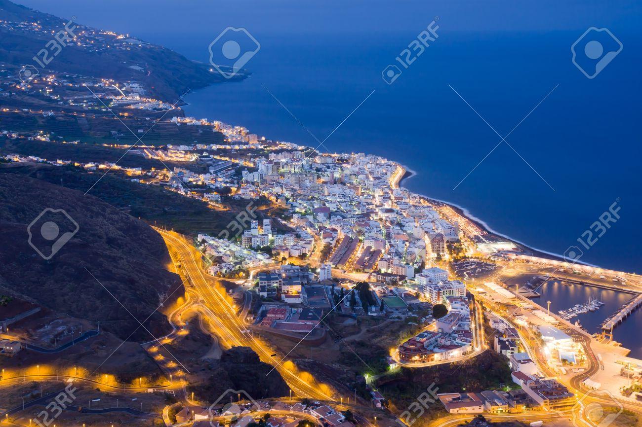 Cityscape by night of Santa Cruz, capital city of La Palma , canary islands - 7778747