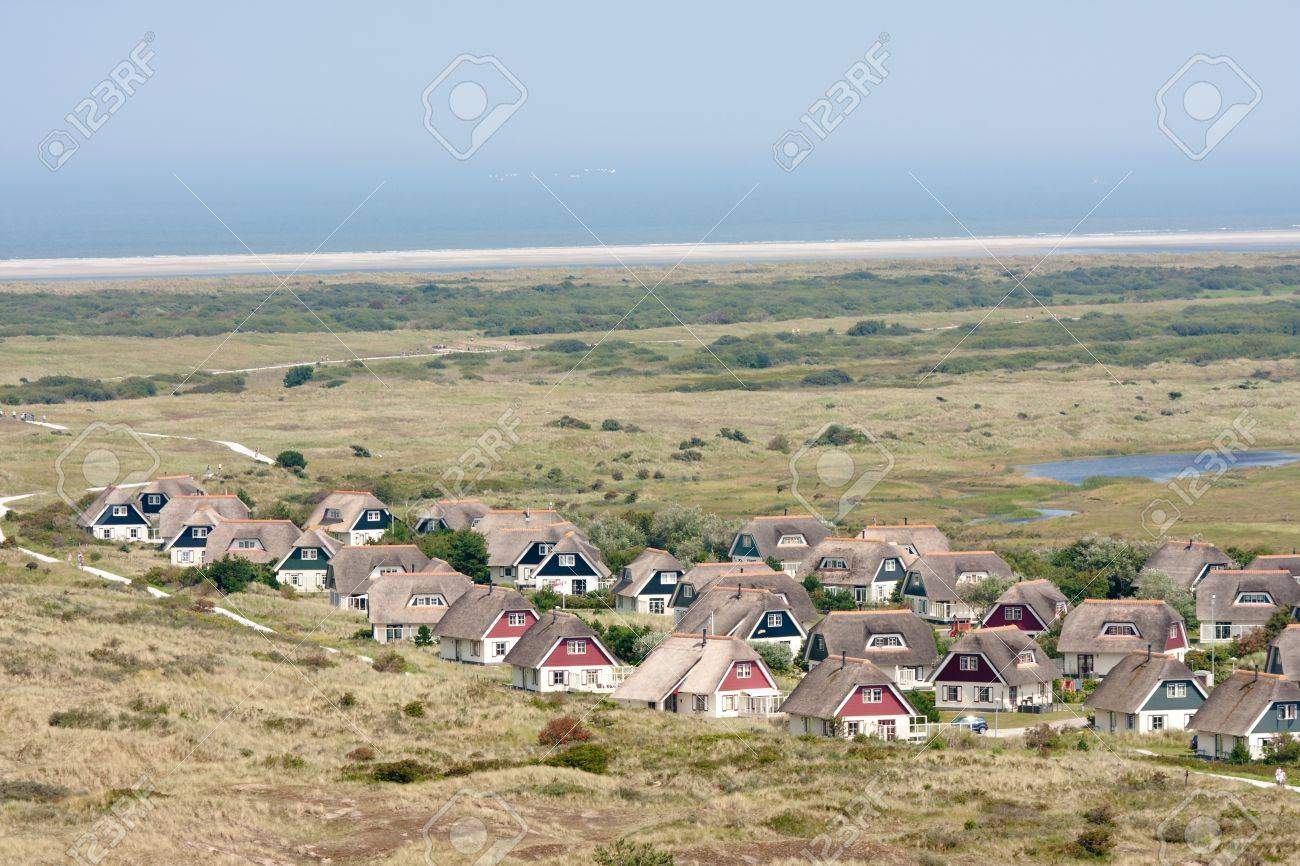 Aerial view of a bungalow park at Ameland, the Netherlands - 10263314