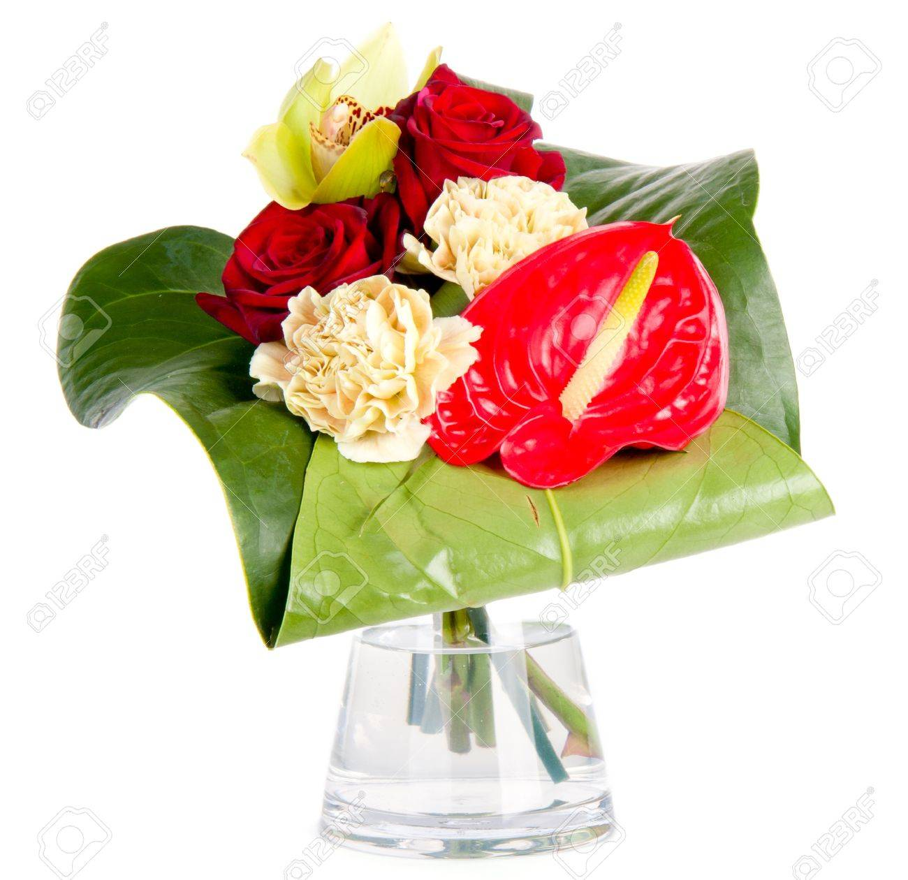 Beautiful bouquet in a vase, isolated on white - 10341532