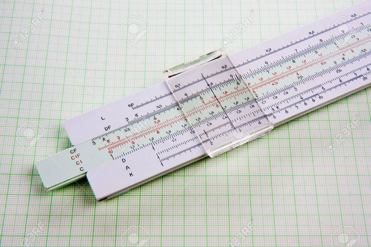 old used slide rule on squared paper stock photo picture and