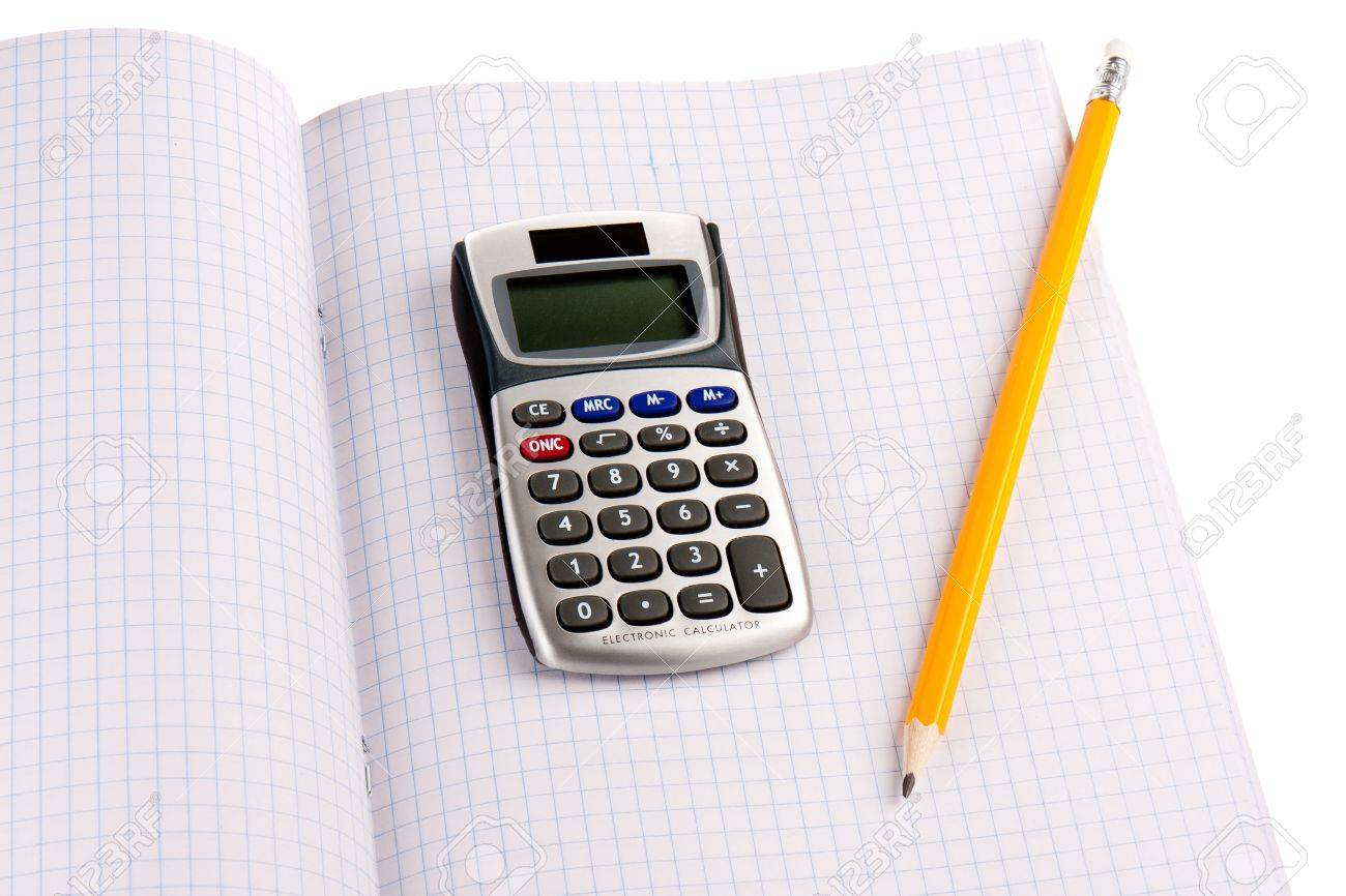 Calculator With Pencil On Squared Paper Isolated Over White Stock ...