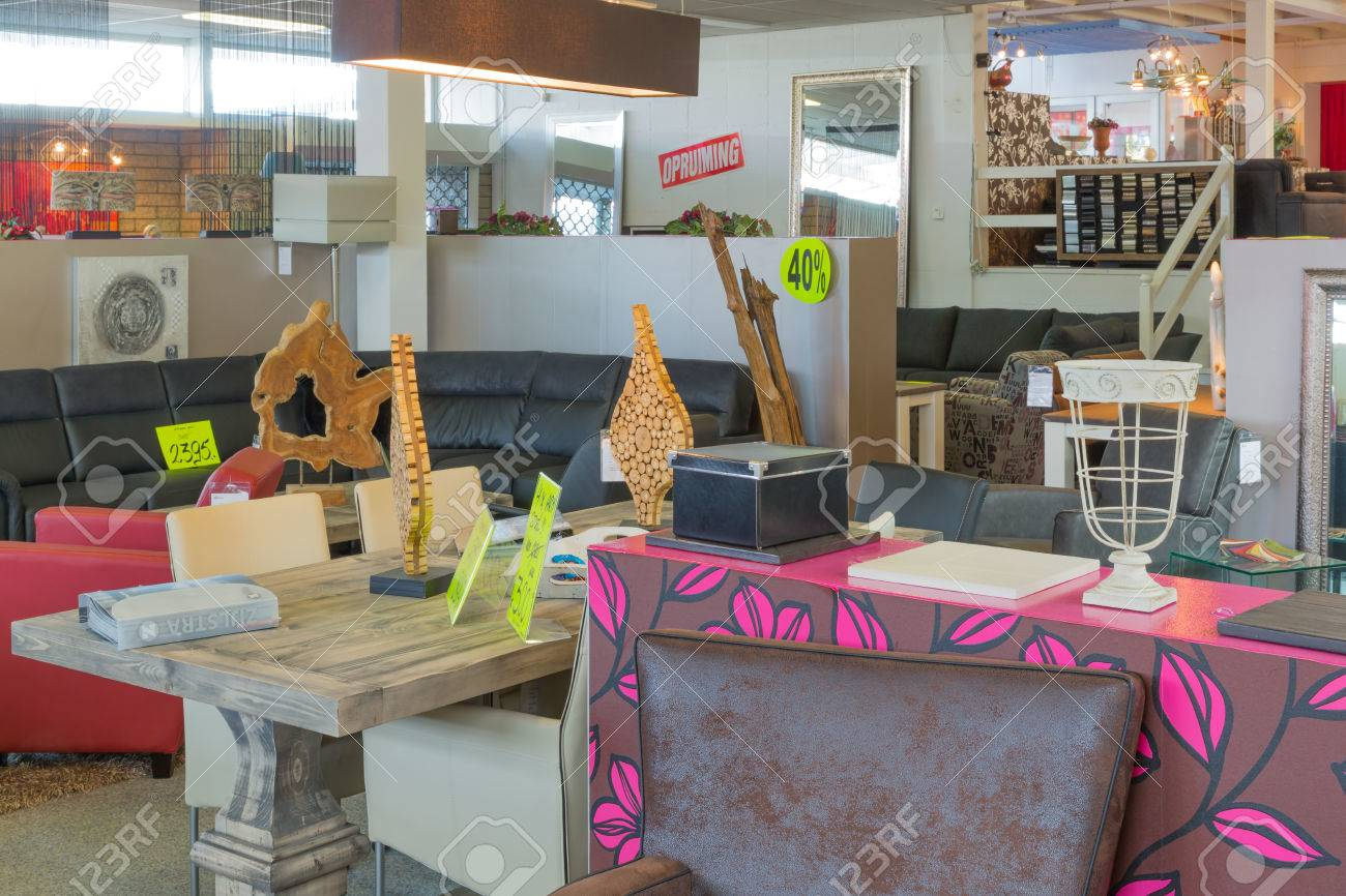 Showroom of modern furniture store with discount selling stock photo 23810381