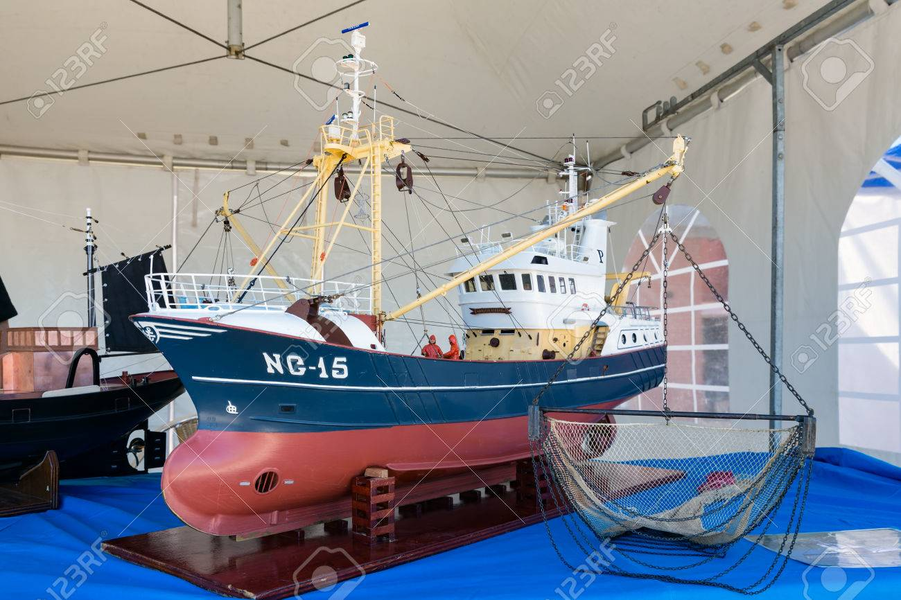 URK, THE NETHERLANDS - MAY 27, 2017: Scale model of fishing vessel