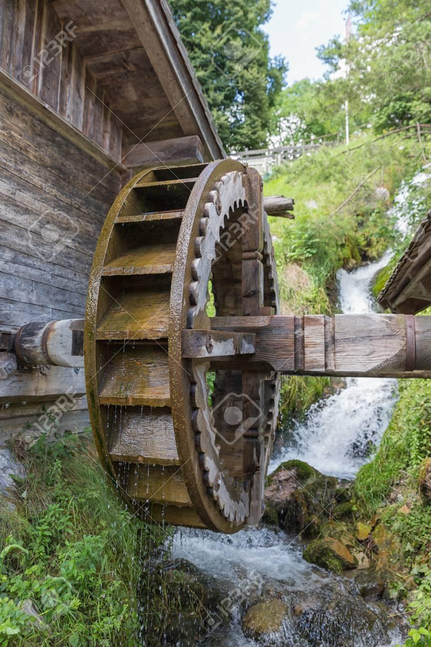 Traditional Wooden Waterwheel Near Werfen In Pongau Valley ...