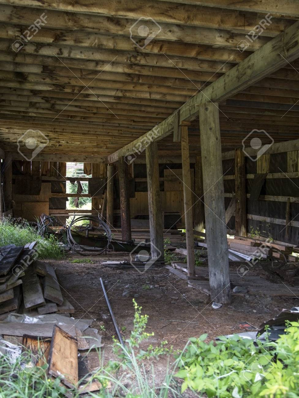 Interior Of An Abandoned Barn In New Hampshire Stock Photo