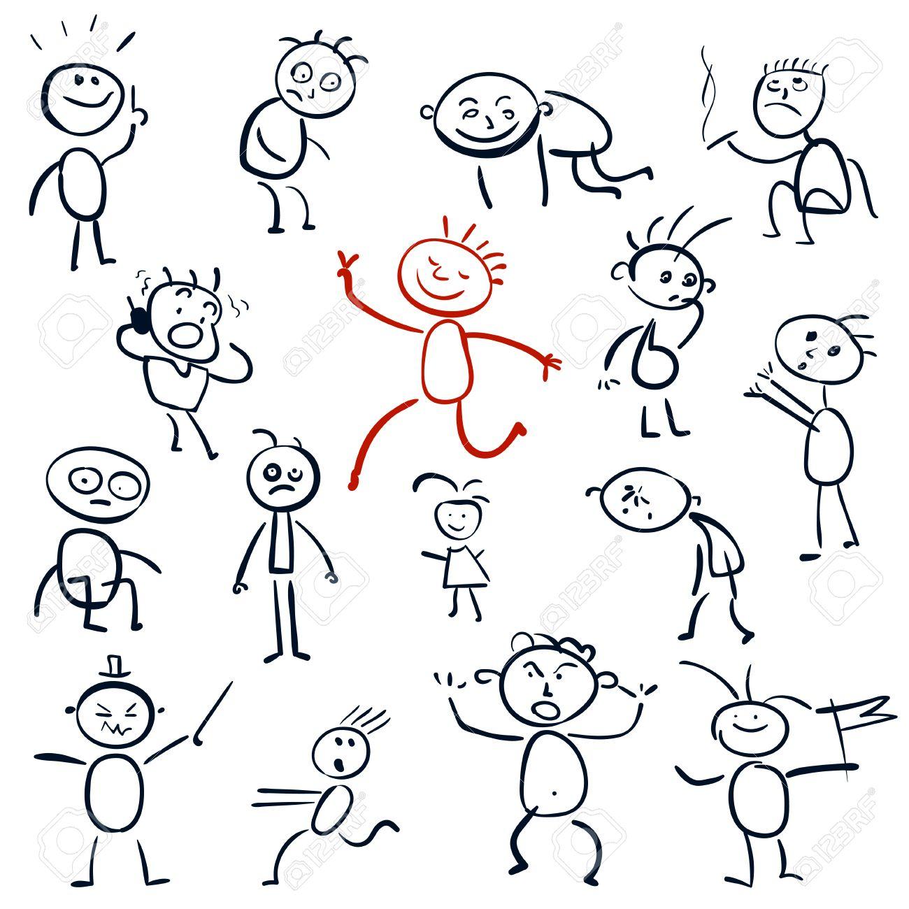 Vettoriale Disegni Come Un Bambino Impostare Gli Uomini Dei