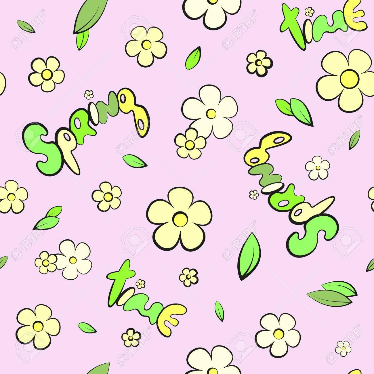 Hojas De Dibujos Animados Y Flores De Primavera Patron Sin Fisuras