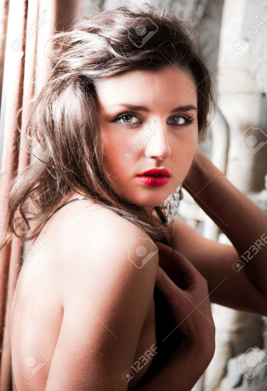 Closeup Portrait Of Nude Girl With Red Lipstick Stock Photo 24689846