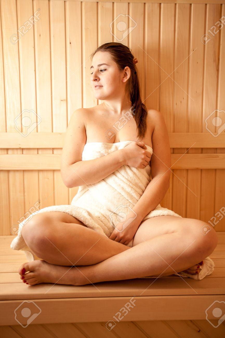 Naked woman at sauna