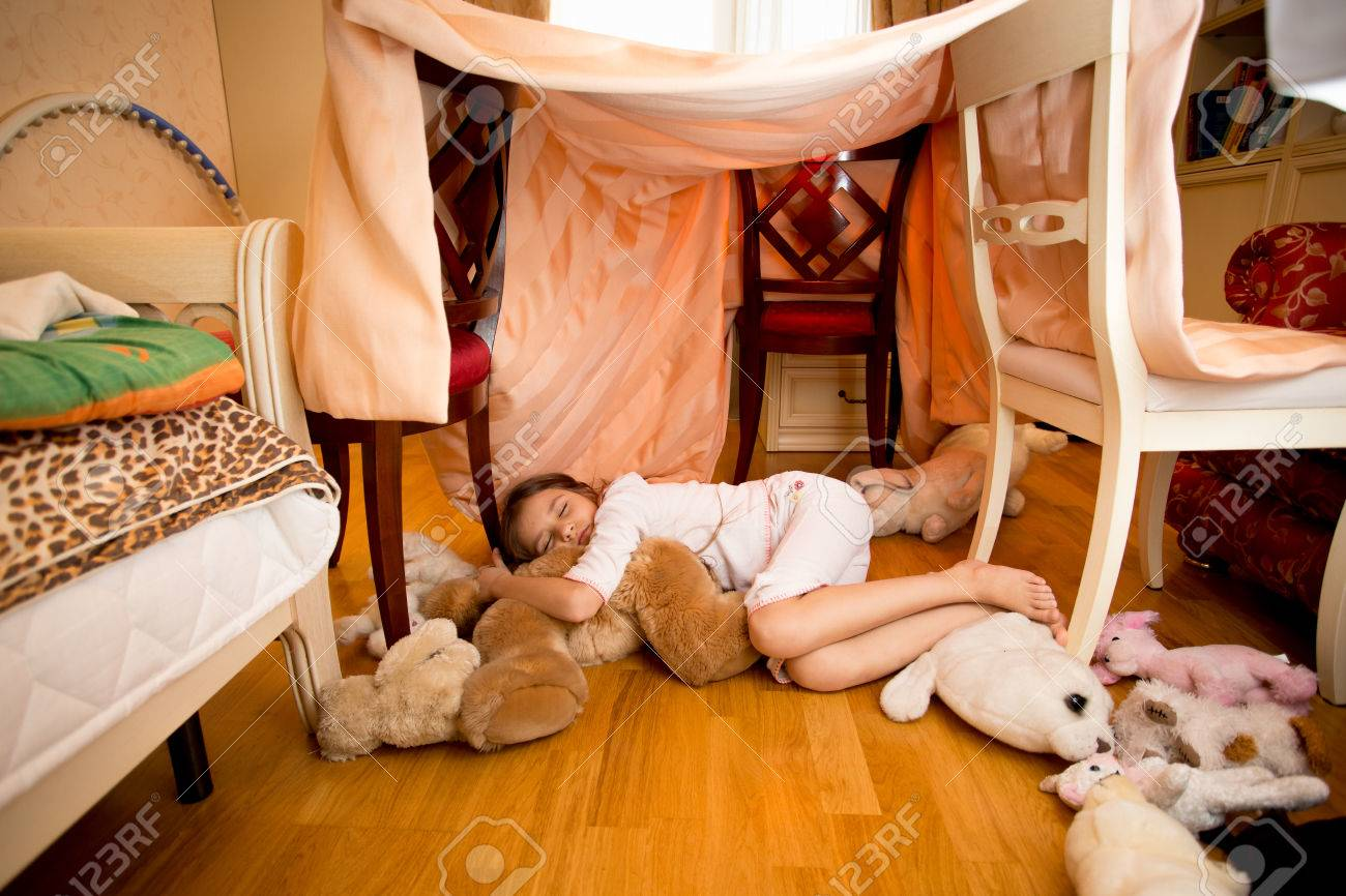 Beautiful Little Girl Sleeping On Teddy Bear At Bedroom Stock Photo Picture And Royalty Free Image 57238521