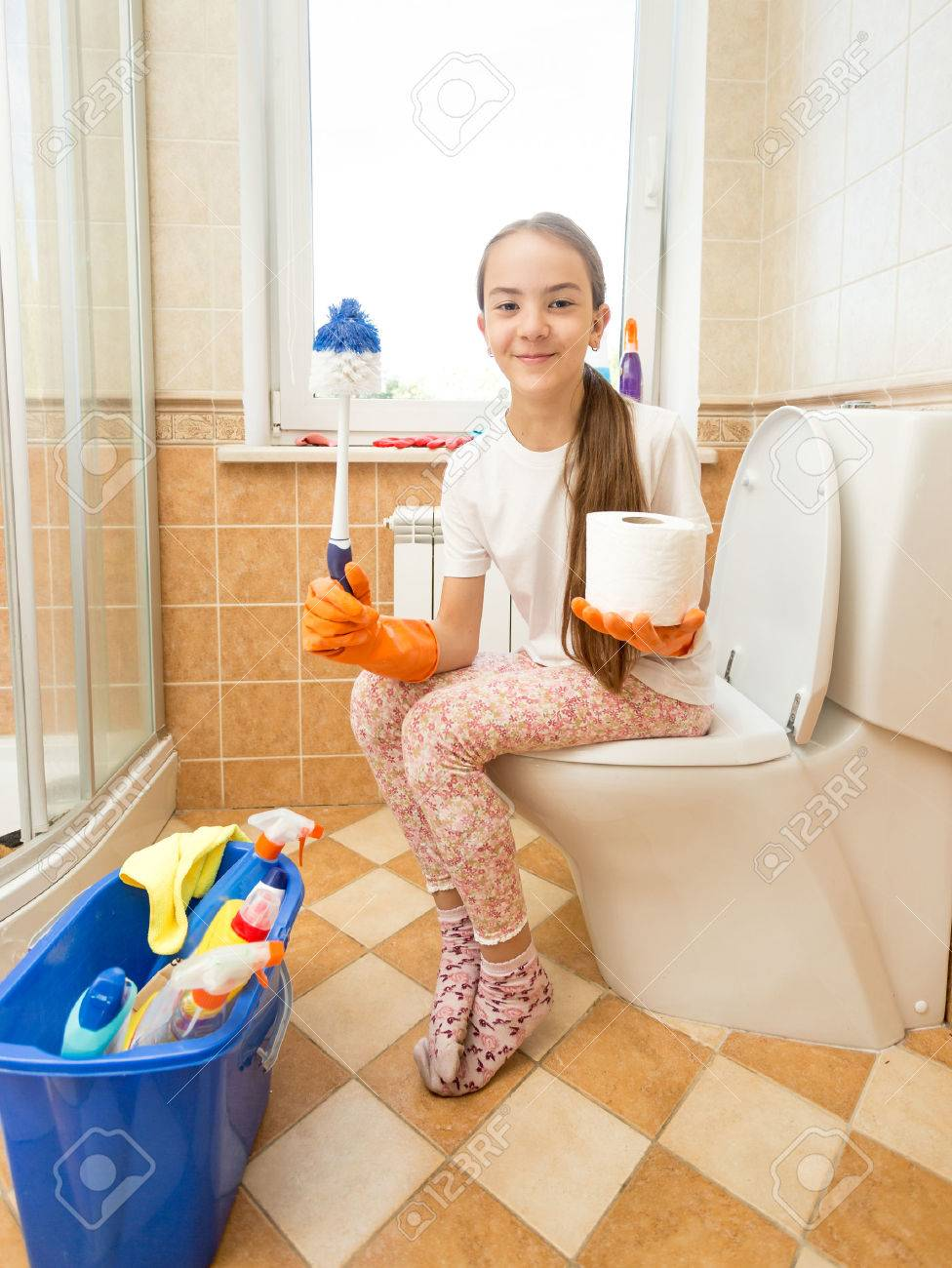 girl on toilet