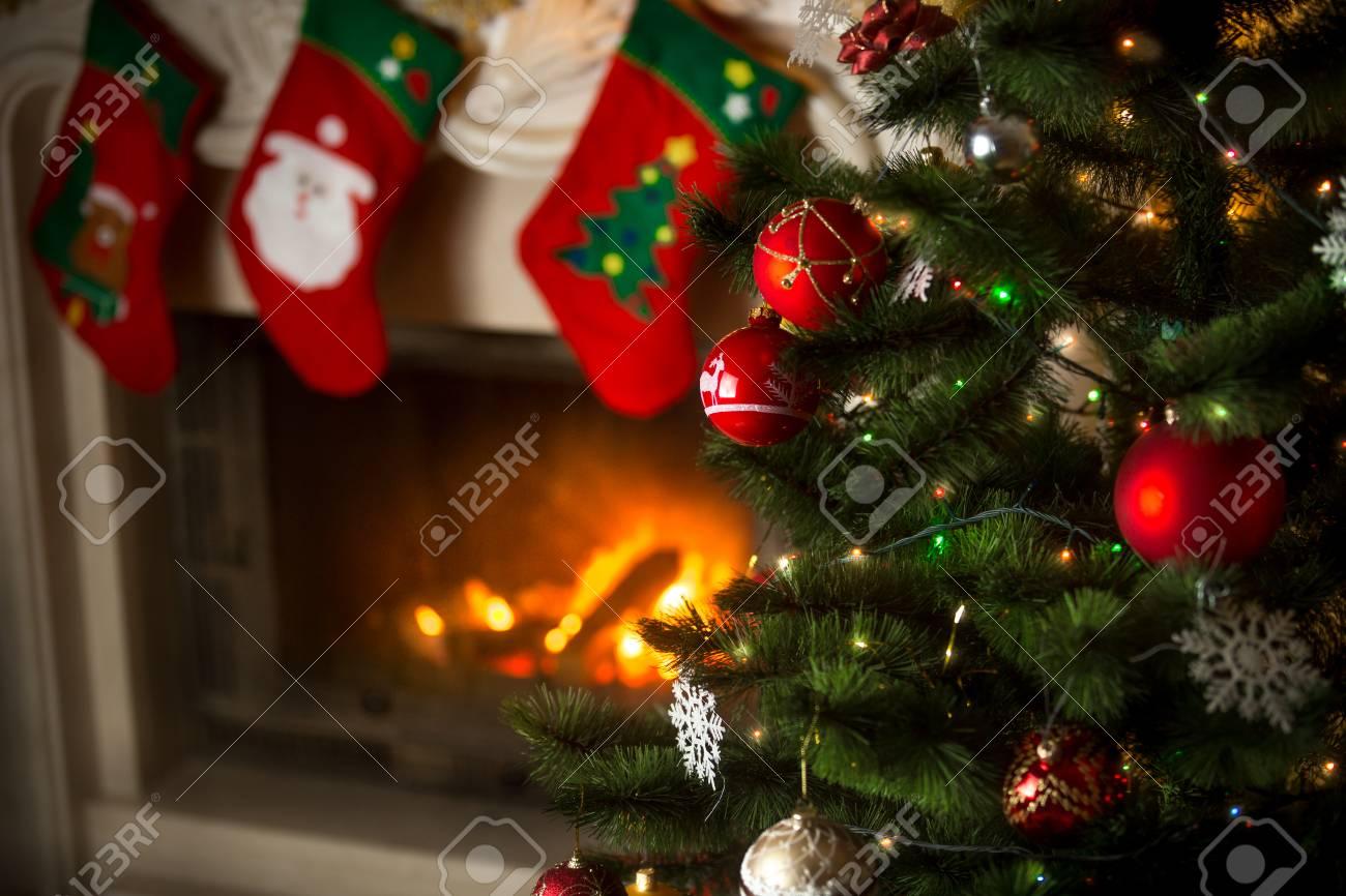 Burning Christmas Tree.Beautiful Background Of Christmas Tree At Living Room With Burning