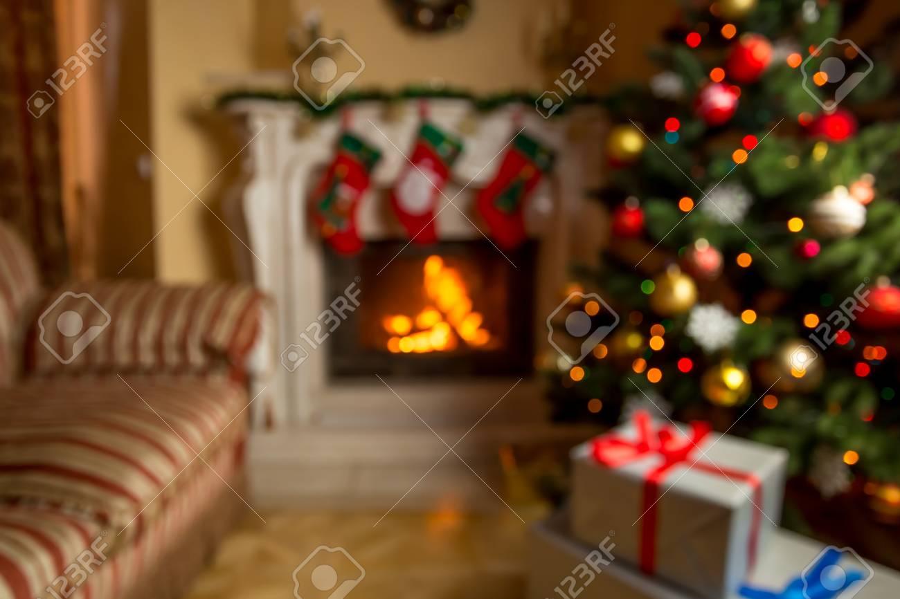 Out Of Focus Hintergrund Mit Wohnzimmer Für Weihnachten Mit ...