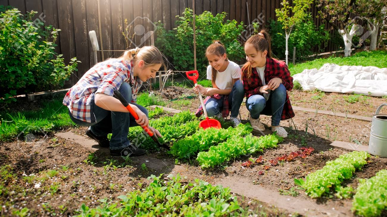 Happy young woman with daughters planting seeds in garden - 100289025