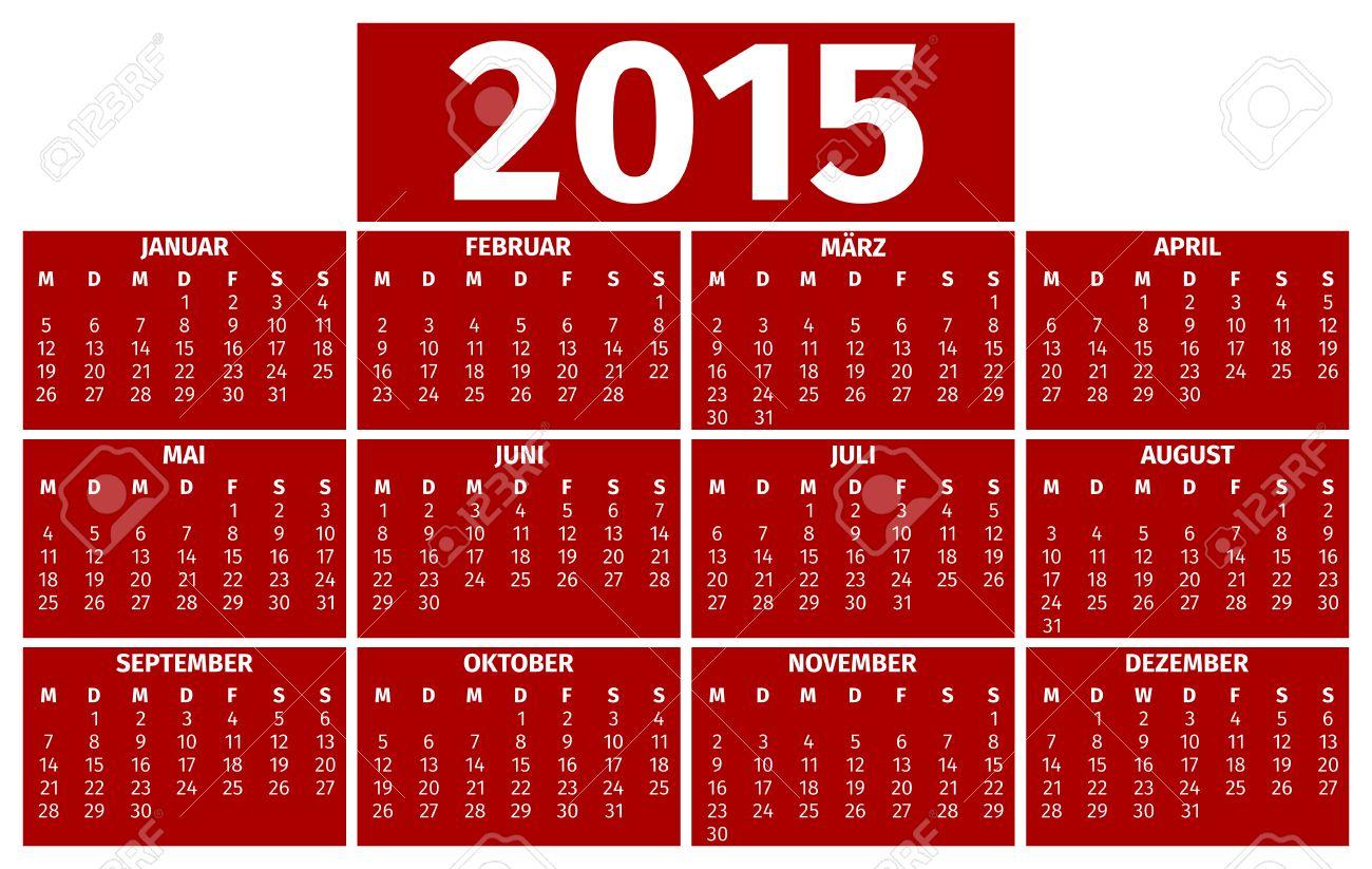 Calendario Anno 2015.Calendario Per L Anno 2015 Versione Tedesca
