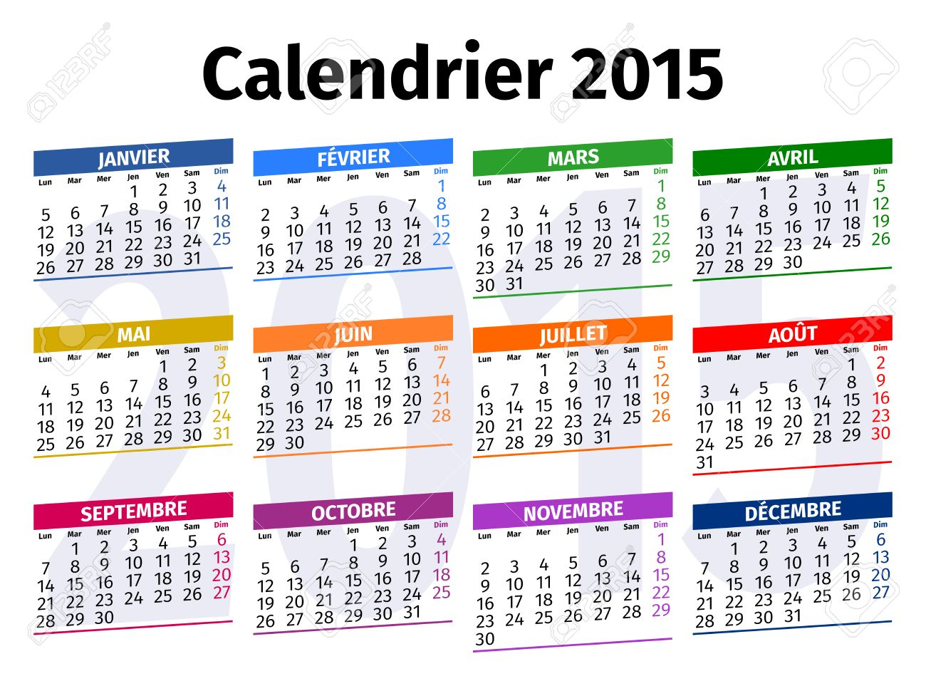 Calendario Frances.Calendario Frances En El Ano 2015 Tipo 3