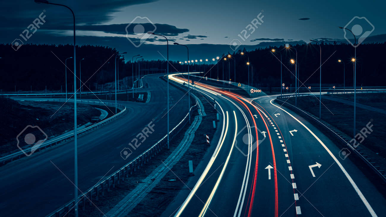 lights of cars with night. long exposure - 166127815