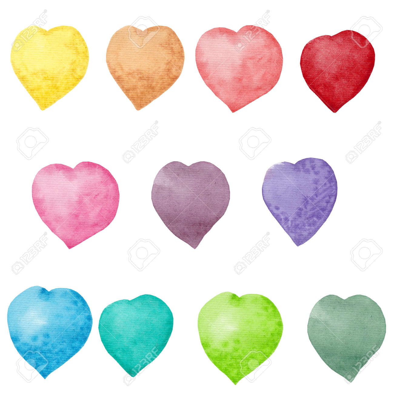 Watercolor rainbow hearts. Hand drawn. Set of party green, pink, blue, yellow, purple, red hearts isolated on white background. Colorful object for greeting cards, invitation and other yours designs. - 150666099