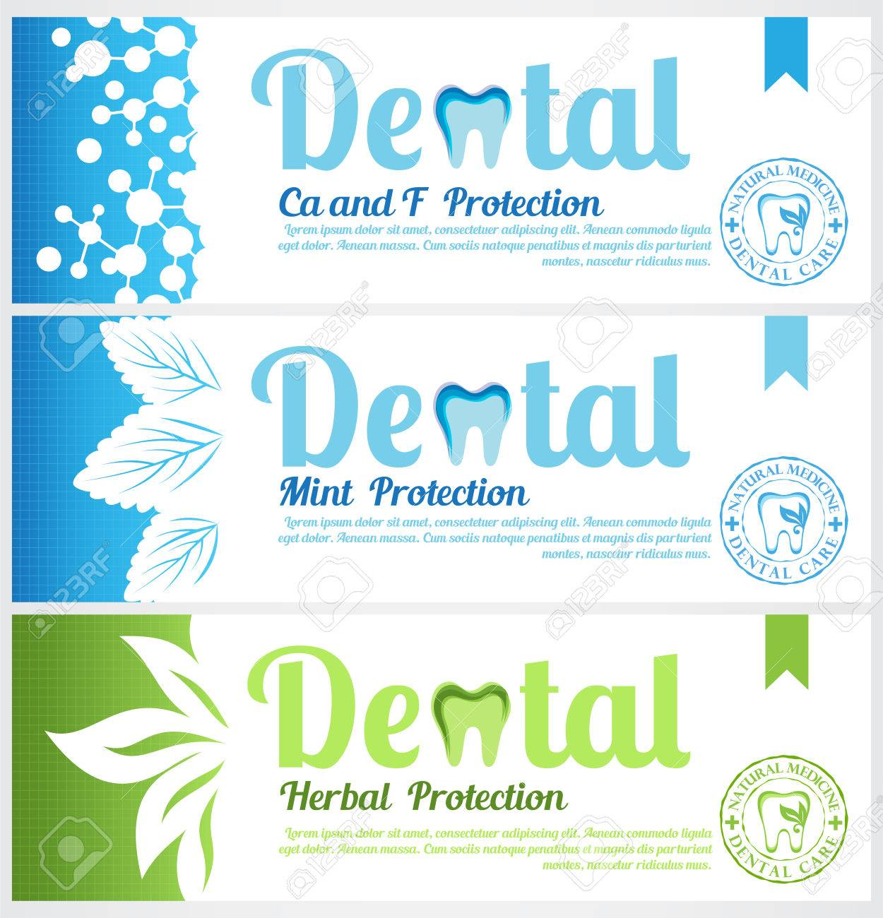 Dental horizontal banners. Set of toothpaste pack labels - 57482117