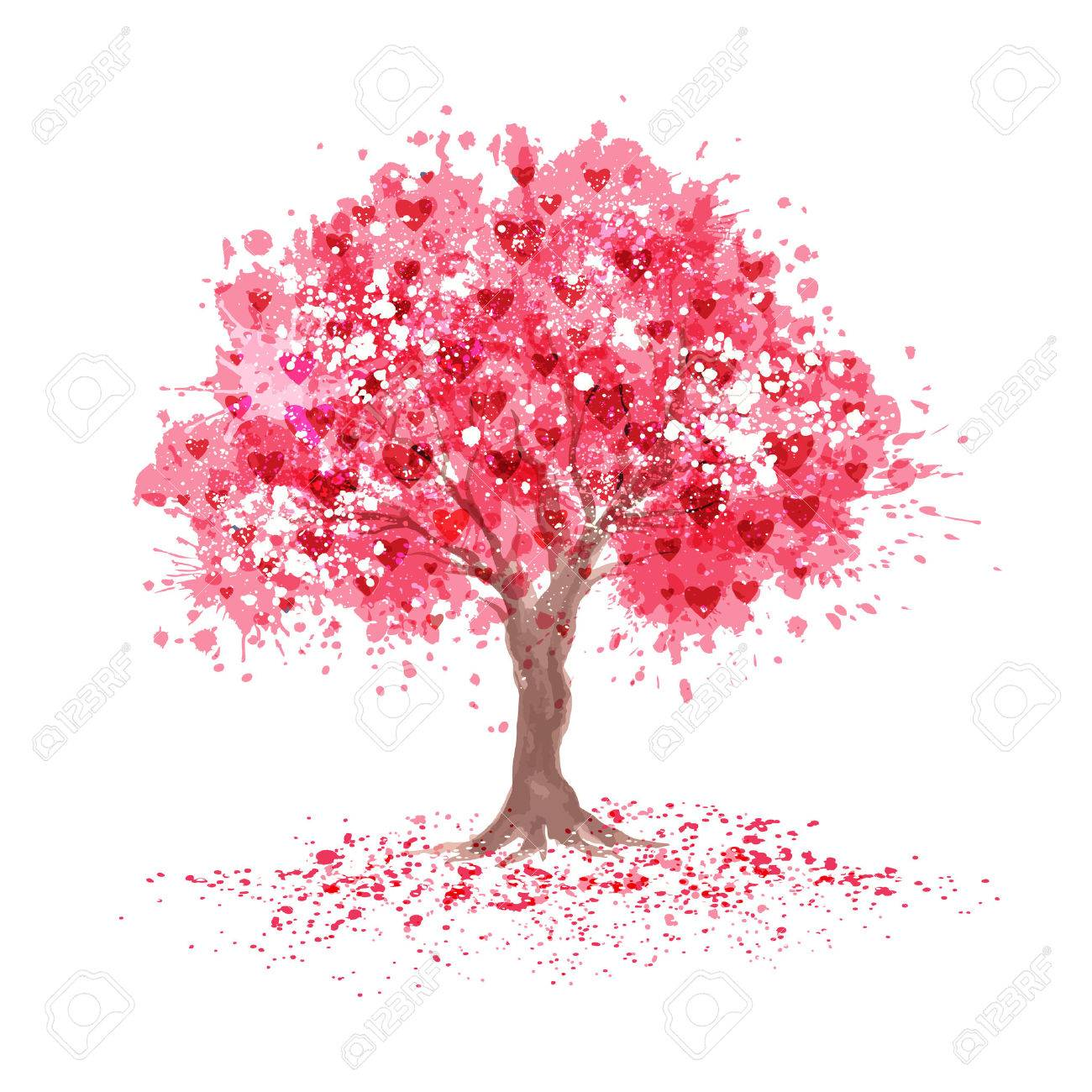 Cherry blossom tree with hearts symbols in abstraction style. - 57484133