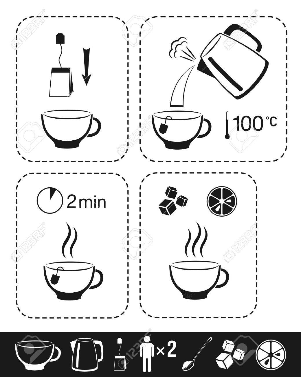 Tea making instruction. Cooking infographic for manual on package. - 57484200