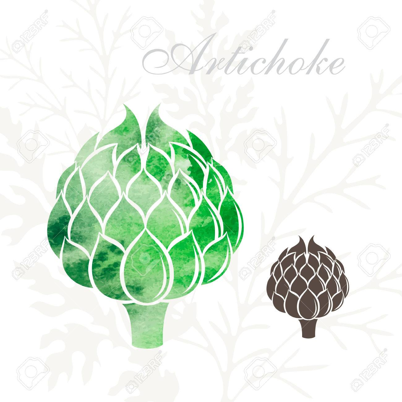 Artichoke icons set. Vegetables icon with watercolor texture - 57484285