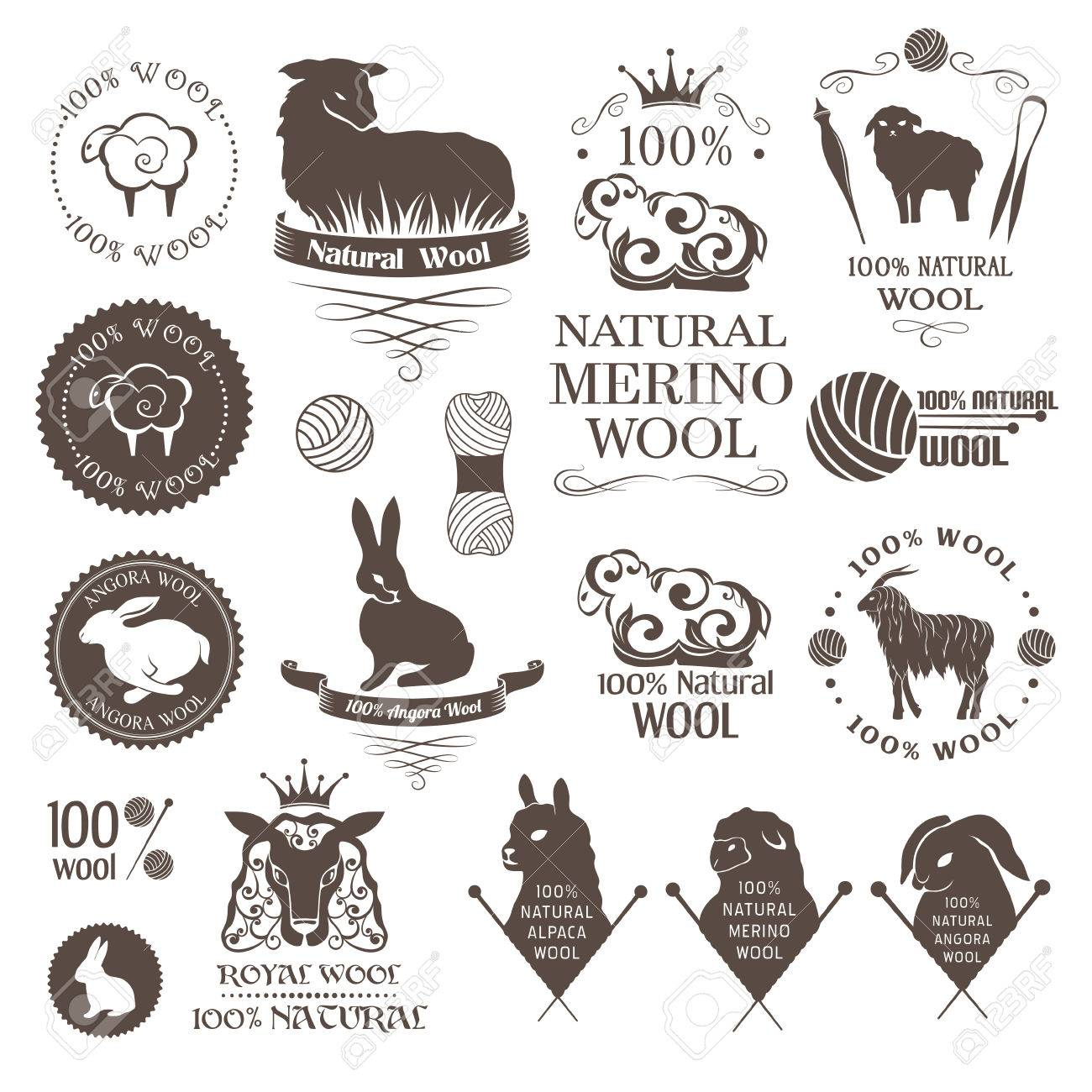 Wool design elements. Labels set of sheep, alpaca, rabbit and goat wool. Logos and emblems for natural wool products. - 57484557