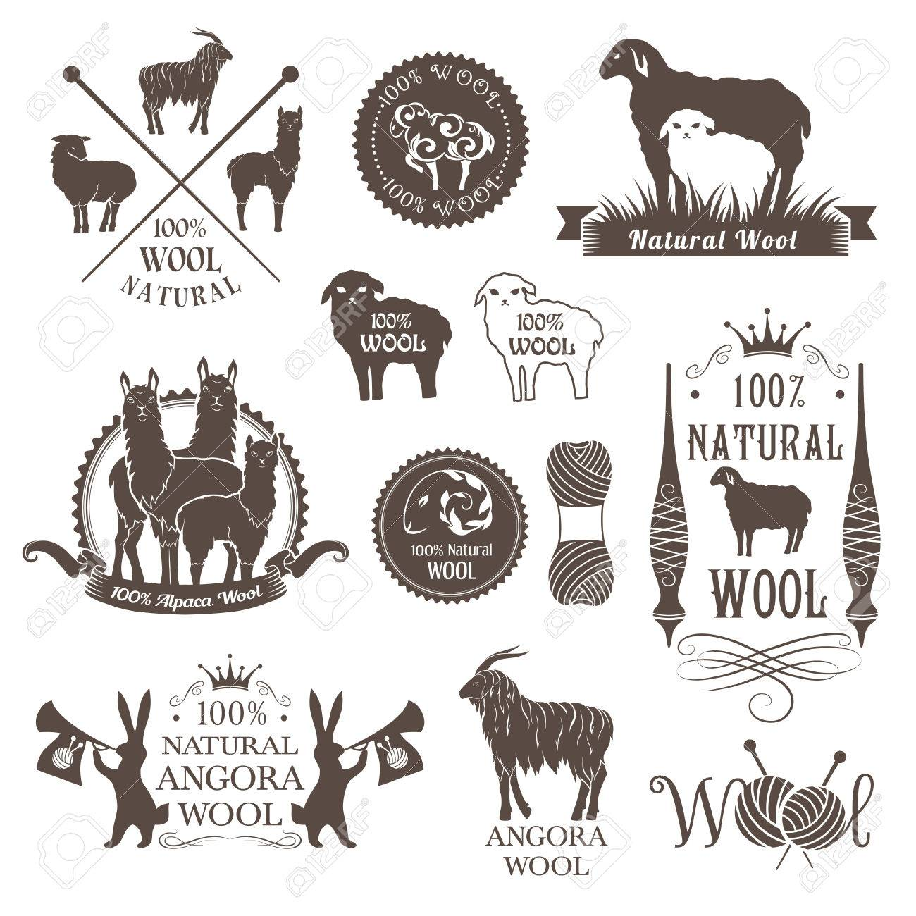 Wool labels and design elements. Logo set of sheep, alpaca, rabbit and goat wool. Signs and emblems for natural wool products. - 57484563