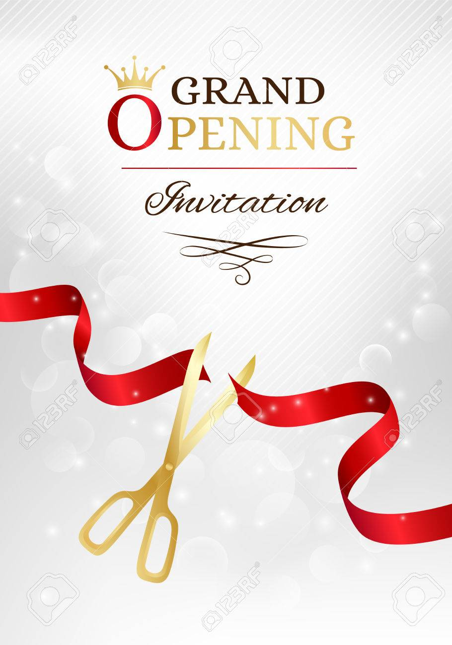 Grand Opening Invitation Card With Cut Red Ribbon And Gold Scissors