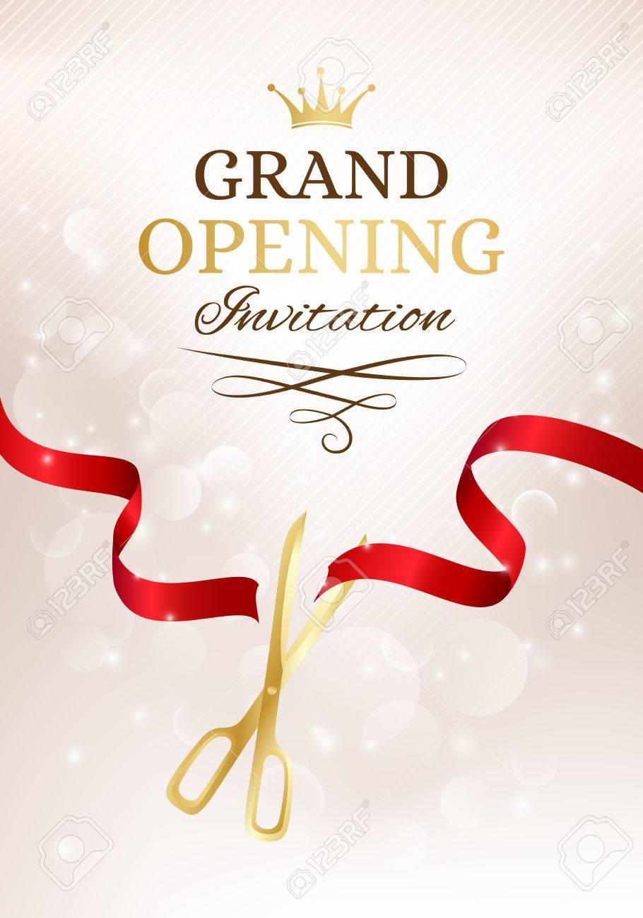 Grand opening invitation card with cut red ribbon and gold scissors banco de imagens grand opening invitation card with cut red ribbon and gold scissors vector background with light effect stopboris