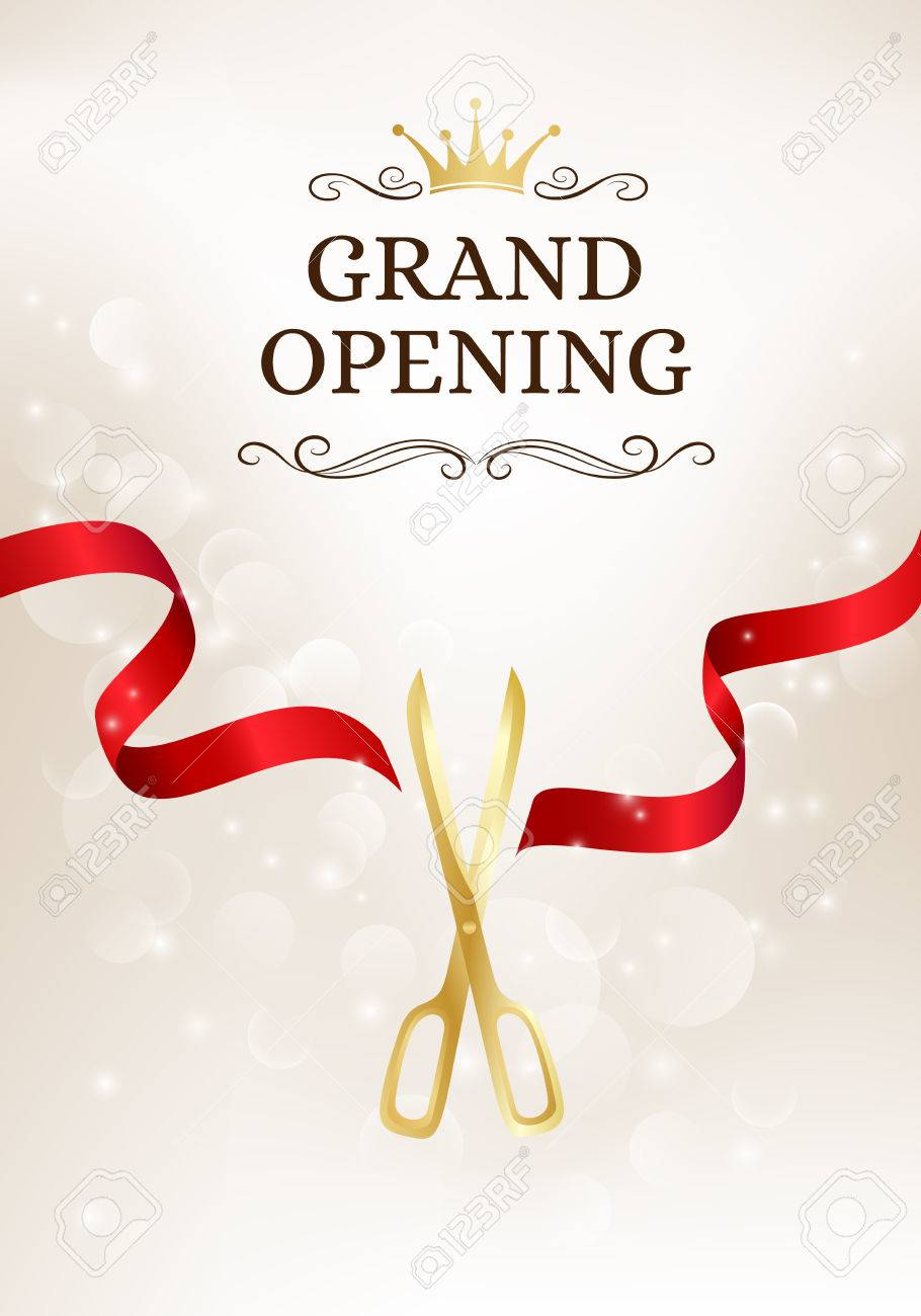 Grand opening banner with cut red ribbon and gold scissors. Vector background with light effect - 62599998