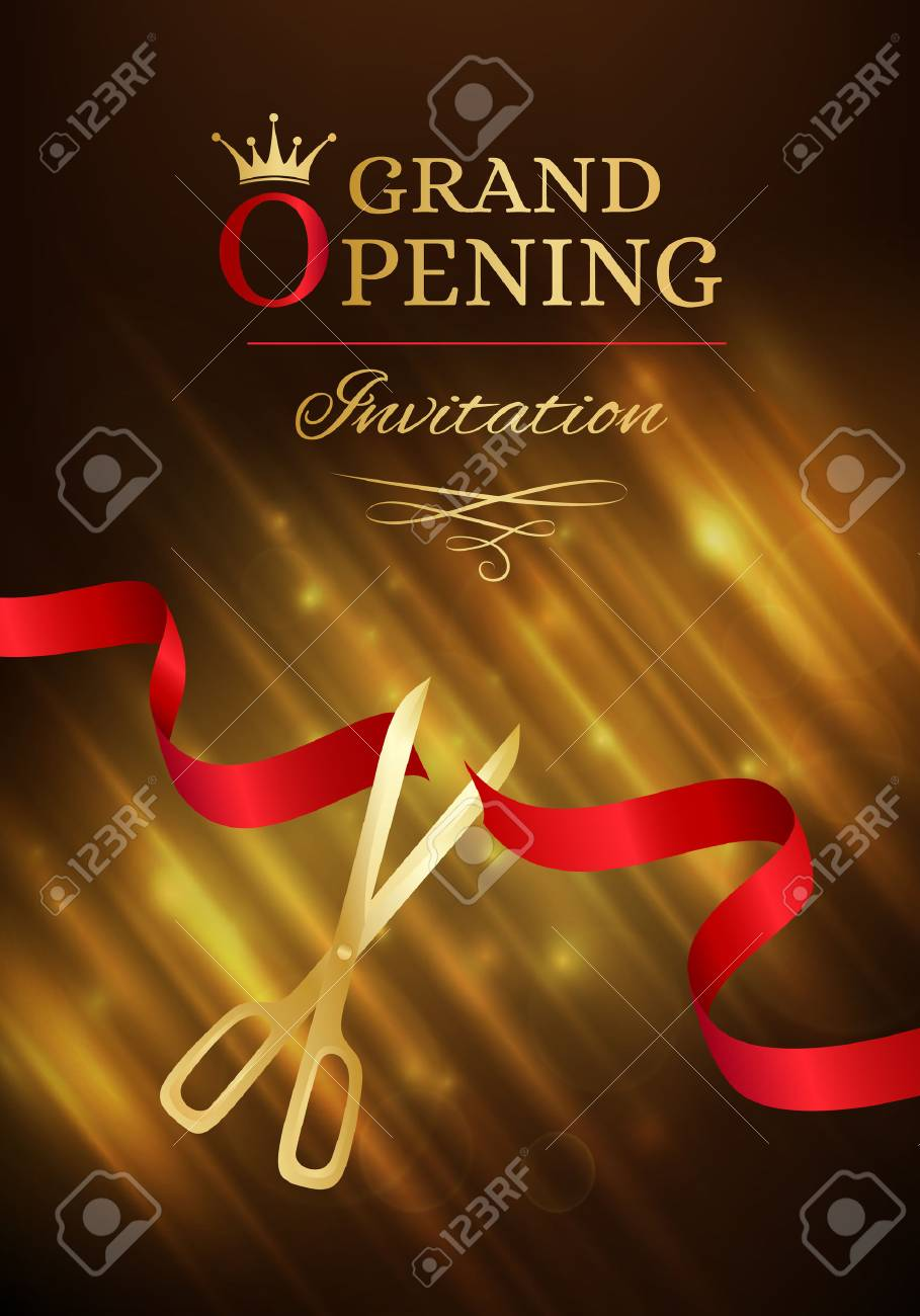 Grand opening invitation card with cut red ribbon and gold scissors grand opening invitation card with cut red ribbon and gold scissors dark vector background with stopboris Gallery