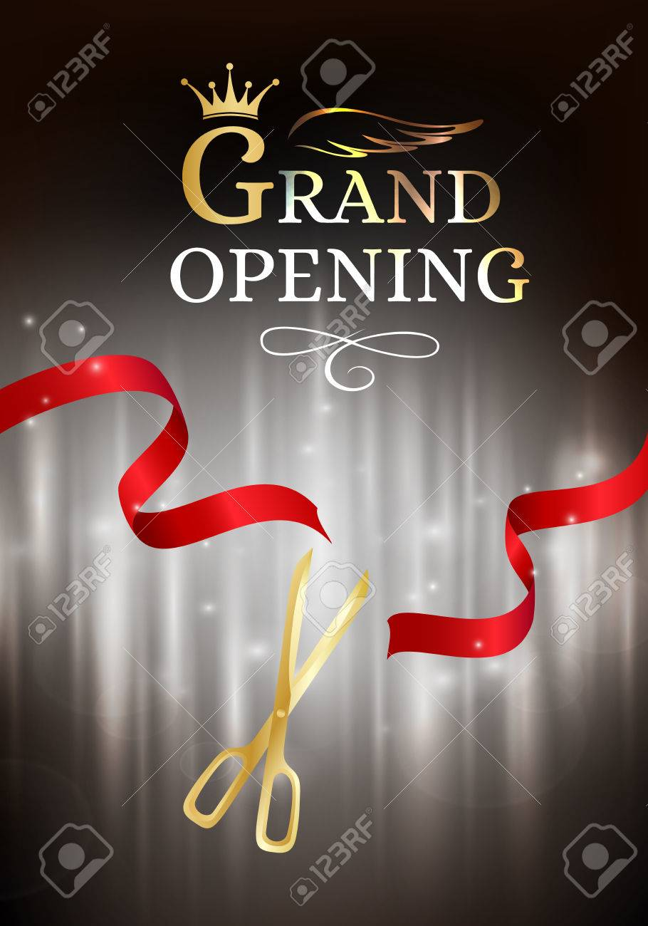 Grand opening banner with cut red ribbon and gold scissors dark grand opening banner with cut red ribbon and gold scissors dark vector background with light buycottarizona