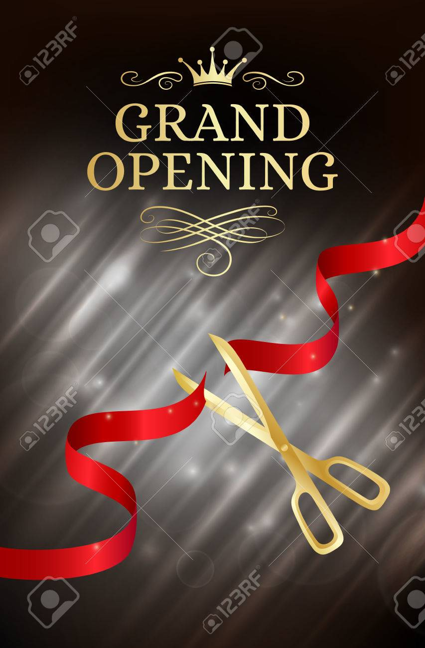 Grand opening banner with cut red ribbon and gold scissors. Dark vector background with light effect - 62600005