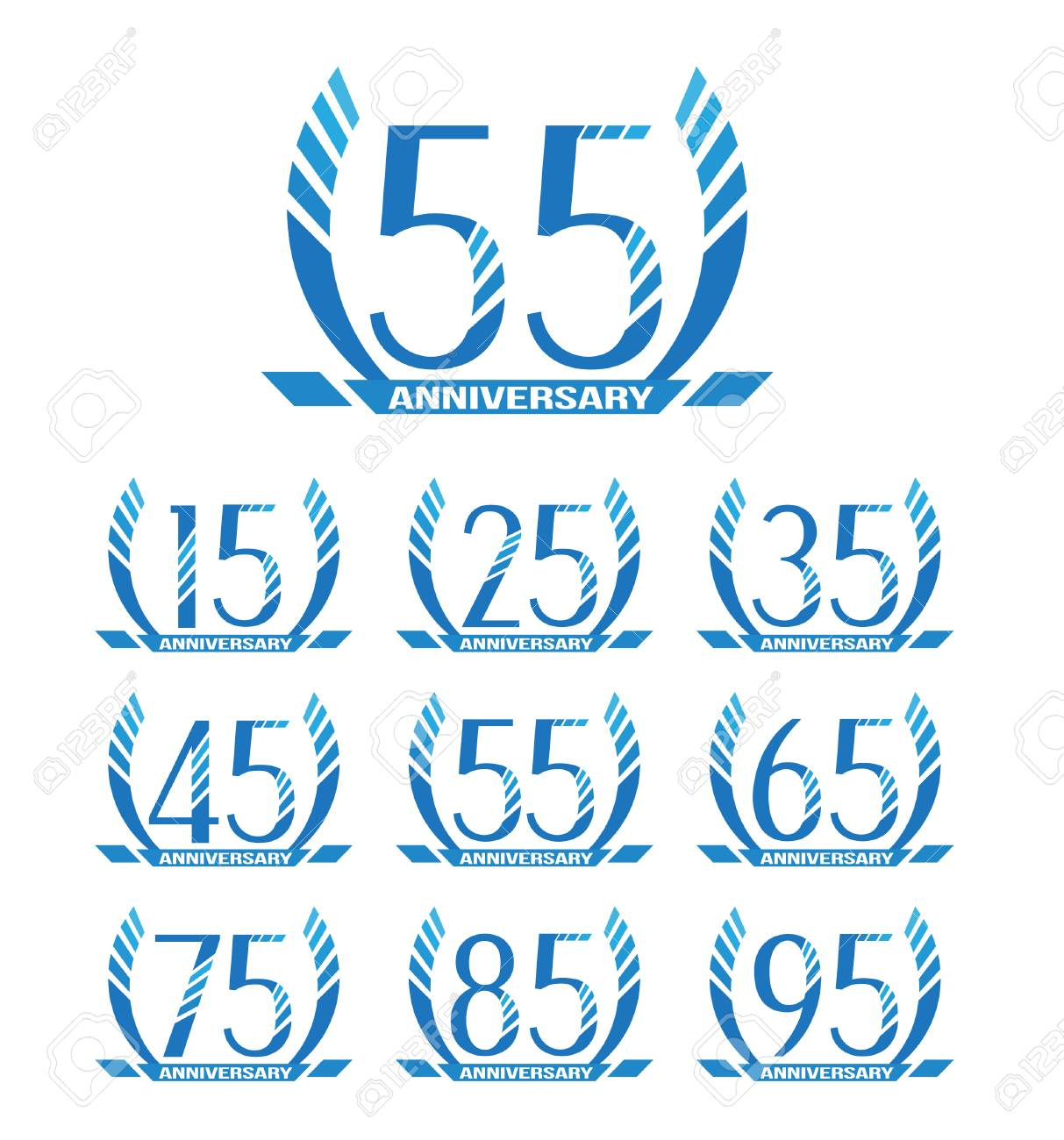 Anniversary emblems in abstract style. 15th, 25th, 35th, 45th, 55th, 65th, 75th, 85th, 95th anniversary sign collection. - 62600268