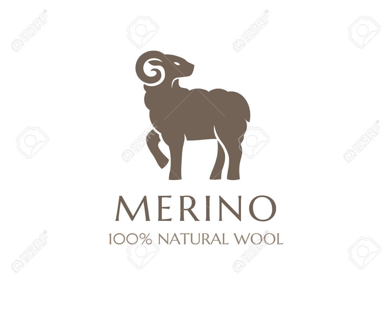Merino Wolle Symbol Vector Schaf Logo Vorlage 100 Prozent