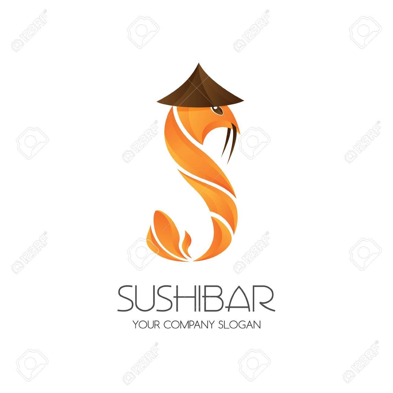 Bar De Sushi Logotipo De La Plantilla. Icono Carácter De Camarón ...
