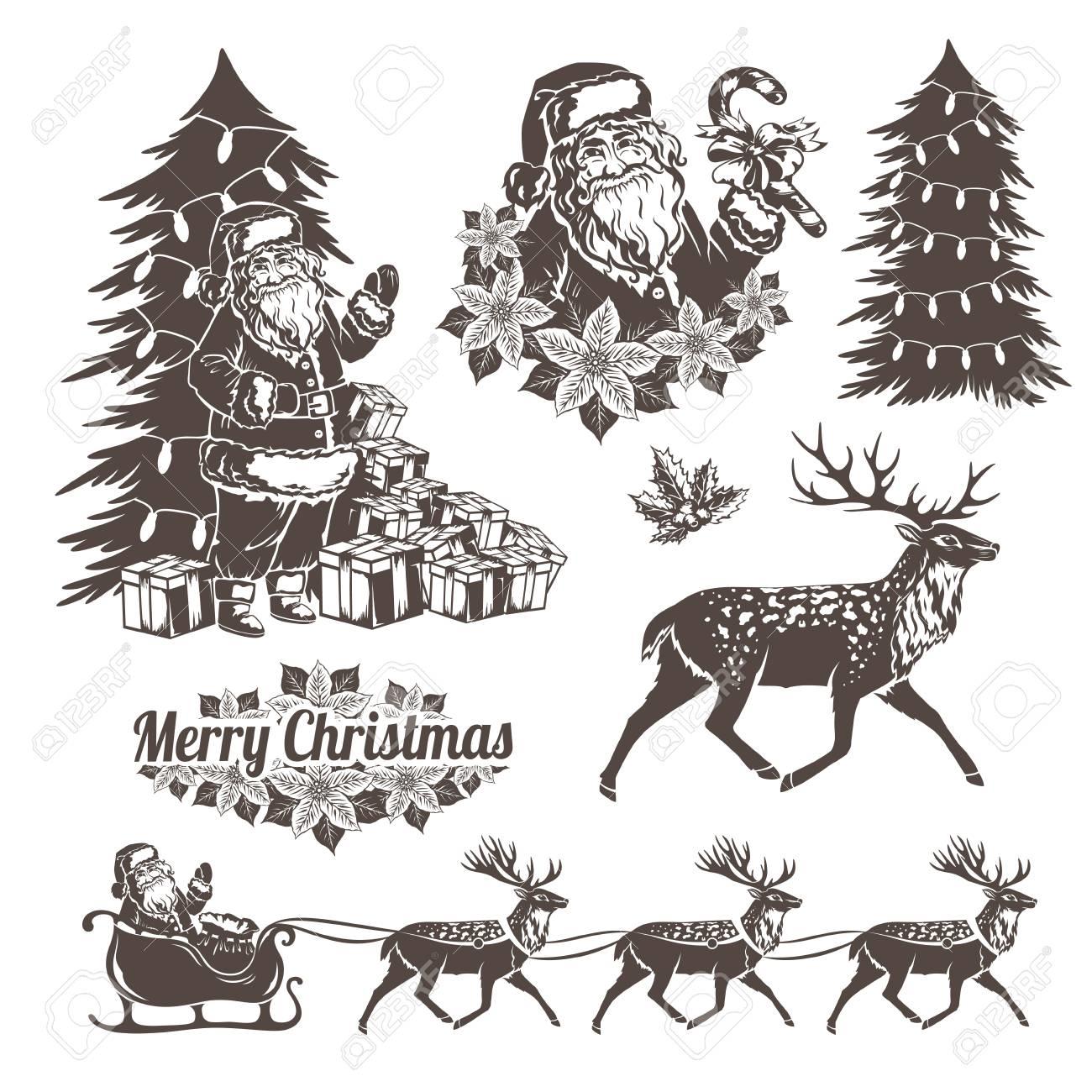 Pochoir Pere Noel.Décorations De Noël Dans Le Style De Pochoir Père Noël Rennes Des Arbres Et Des Cadeaux De Noël