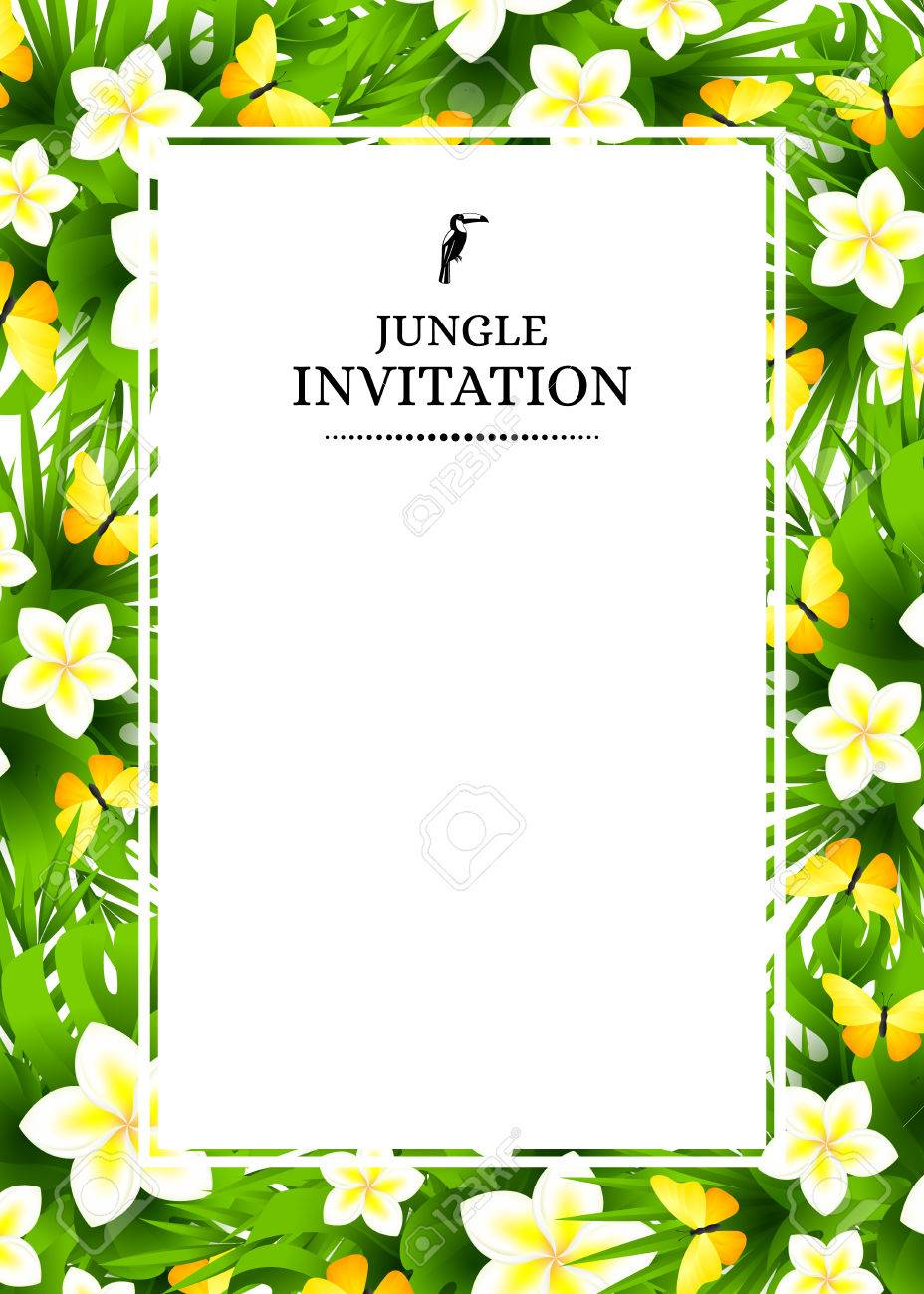 Tropical hawaiian background with jungle palm tree leaves exotic banco de imagens tropical hawaiian background with jungle palm tree leaves exotic flowers and yellow butterflies vertical vector invitation banners with stopboris Choice Image